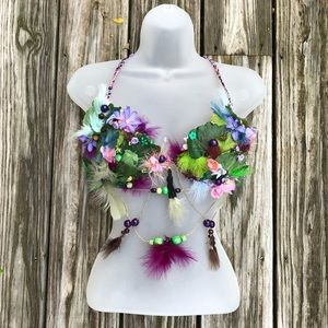 Forest Nature Leafy Fairy Flower Bra Top Costume